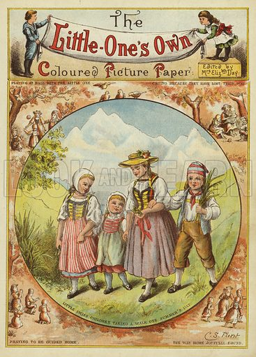 Swiss children taking a walk on a summer's day. Illustration from The Little One's Own Coloured Picture Paper (Dean and Son, c1890).