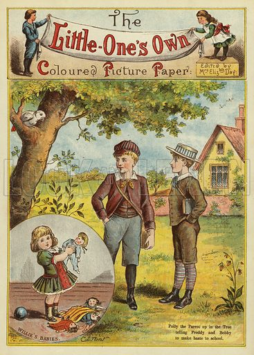 Boys on their way to school and the parrot in the tree. Illustration from The Little One's Own Coloured Picture Paper (Dean and Son, c1890).