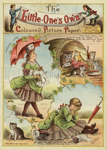 Conceited Jane. Illustration from The Little One's Own Coloured Picture Paper (Dean and Son, c1890).
