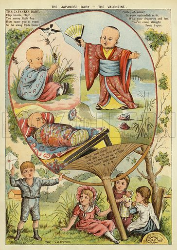 The Japanese baby – the valentine. Illustration from The Little One's Own Coloured Picture Paper (Dean and Son, c1890).