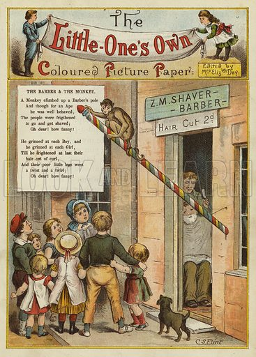 The barber and the monkey. Illustration from The Little One's Own Coloured Picture Paper (Dean and Son, c1890).