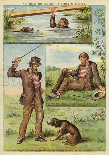 The beggar and his dog - a lesson to children. Illustration from The Little One's Own Coloured Picture Paper (Dean and Son, c1890).