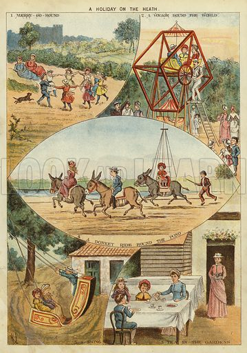 A holiday on the heath. Illustration from The Little One's Own Coloured Picture Paper (Dean and Son, c1890).