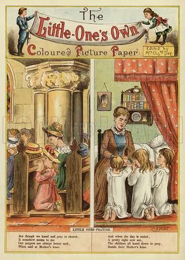 Children praying at home and in church. Illustration from The Little One's Own Coloured Picture Paper (Dean and Son, c1890).