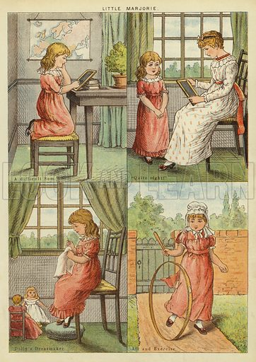 Little Marjorie. Illustration from The Little One's Own Coloured Picture Paper (Dean and Son, c1890).
