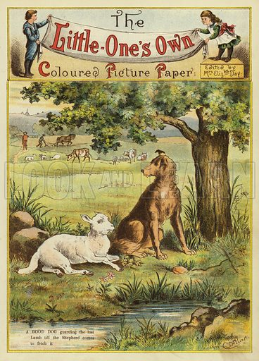 Good dog guarding the lost lamb until the shepherd comes to fetch it. Illustration from The Little One's Own Coloured Picture Paper (Dean and Son, c1890).