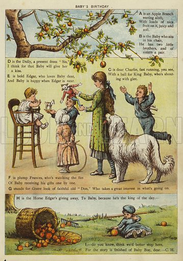 Baby's Birthday. Illustration from The Little One's Own Coloured Picture Paper (Dean and Son, c1890).