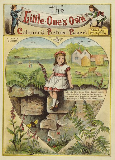 A little queen. Illustration from The Little One's Own Coloured Picture Paper (Dean and Son, c1890).