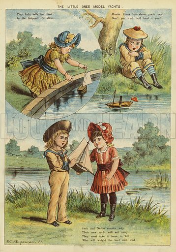 The little ones' model yachts. Illustration from The Little One's Own Coloured Picture Paper (Dean and Son, c1890).