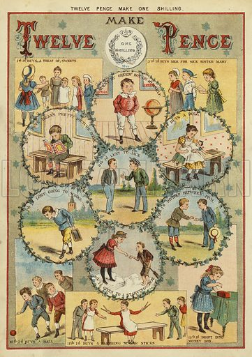 Twelve pence make one shilling. Illustration from The Little One's Own Coloured Picture Paper (Dean and Son, c1890).