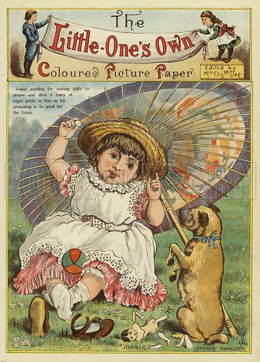 Young girl telling her dog off for breaking her doll. Illustration from The Little One's Own Coloured Picture Paper (Dean and Son, c1890).
