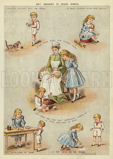 Soft answers to cross words. Illustration from The Little One's Own Coloured Picture Paper (Dean and Son, c1890).