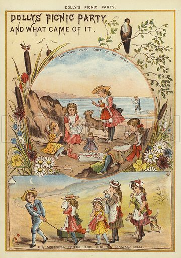 Dolly's picnic party. Illustration from The Little One's Own Coloured Picture Paper (Dean and Son, c1890).