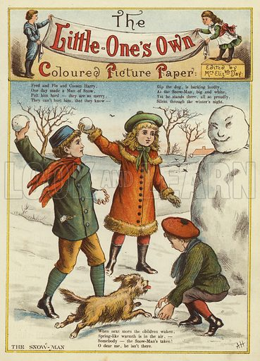 The snowman. Illustration from The Little One's Own Coloured Picture Paper (Dean and Son, c1890).
