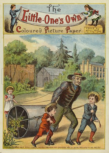 Children helping the gardener. Illustration from The Little One's Own Coloured Picture Paper (Dean and Son, c1890).