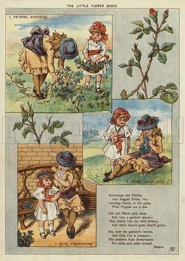 The little flower queen. Illustration from The Little One's Own Coloured Picture Paper (Dean and Son, c1890).
