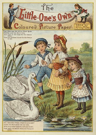 Children feeding the swans. Illustration from The Little One's Own Coloured Picture Paper (Dean and Son, c1890).