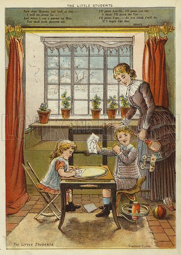 The little students. Illustration from The Little One's Own Coloured Picture Paper (Dean and Son, c1890).