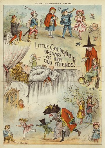 Little Golden-Hair's Dream. Illustration from The Little One's Own Coloured Picture Paper (Dean and Son, c1890).