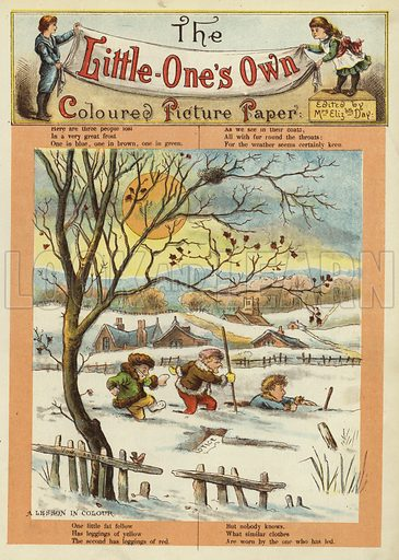 Children playing in the snow. Illustration from The Little One's Own Coloured Picture Paper (Dean and Son, c1890).