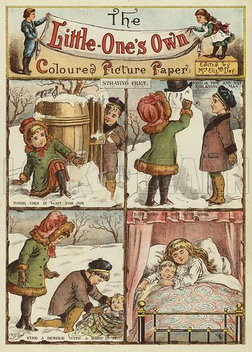 Children playing in the snow and finding a baby. Illustration from The Little One's Own Coloured Picture Paper (Dean and Son, c1890).