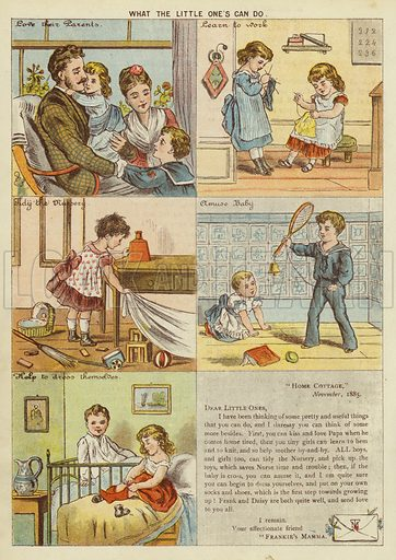 What the little one's can do. Illustration from The Little One's Own Coloured Picture Paper (Dean and Son, c1890).