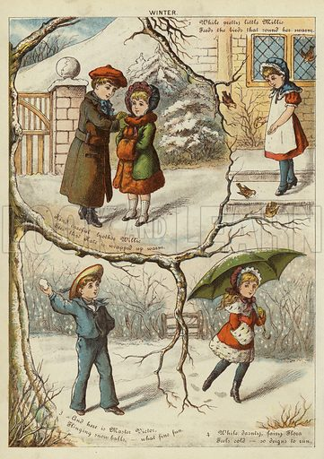 Winter. Illustration from The Little One's Own Coloured Picture Paper (Dean and Son, c1890).