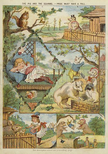 The pig and the squirrel - pride must have a fall. Illustration from The Little One's Own Coloured Picture Paper (Dean and Son, c1890).