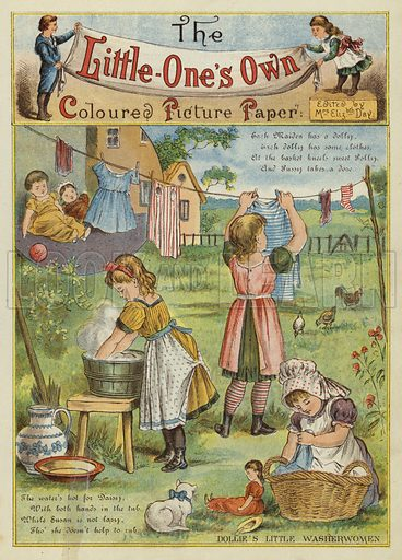 Girls washing clothes. Illustration from The Little One's Own Coloured Picture Paper (Dean and Son, c1890).