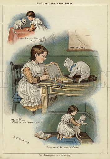 Ethel and her white cat. Illustration from The Little One's Own Coloured Picture Paper (Dean and Son, c1890).