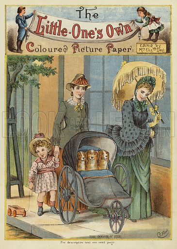 Women pushing dogs in a pram. Illustration from The Little One's Own Coloured Picture Paper (Dean and Son, c1890).