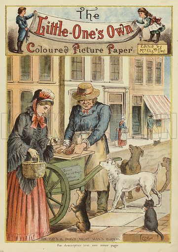 Seller of dog and cat meat with his barrow. Illustration from The Little One's Own Coloured Picture Paper (Dean and Son, c1890).