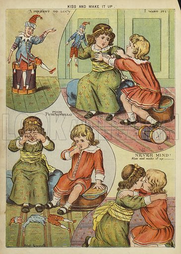 Kiss and make it up. Illustration from The Little One's Own Coloured Picture Paper (Dean and Son, c1890).