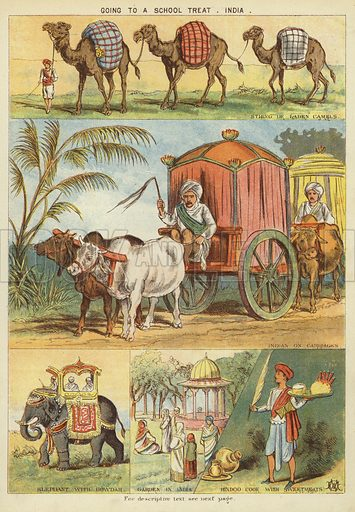 Going to a school treat, India. Illustration from The Little One's Own Coloured Picture Paper (Dean and Son, c1890).