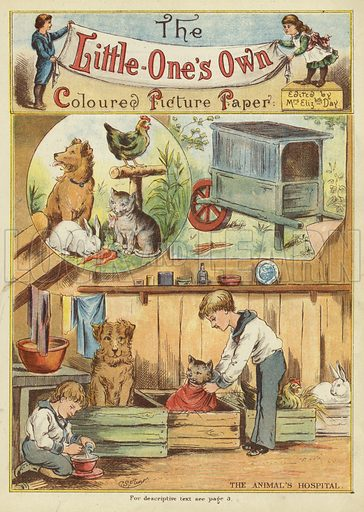 The animal's hospital. Illustration from The Little One's Own Coloured Picture Paper (Dean and Son, c1890).