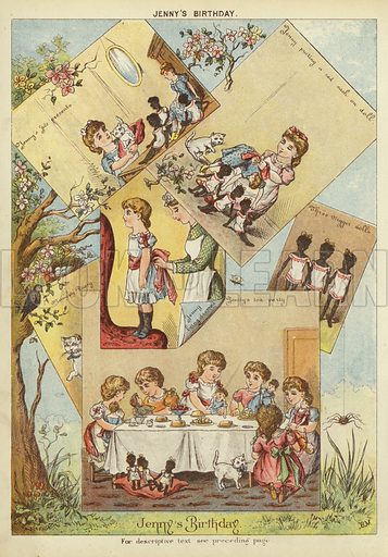 Jenny's birthday. Illustration from The Little One's Own Coloured Picture Paper (Dean and Son, c1890).