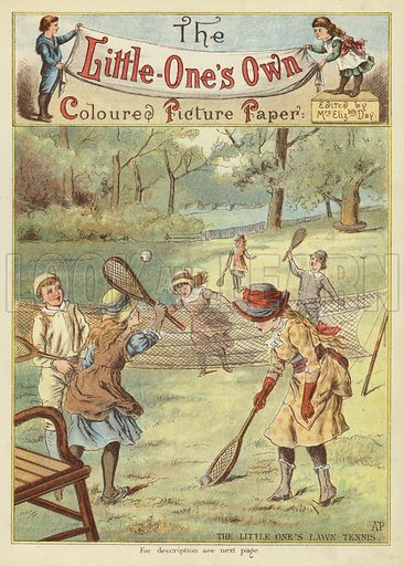 The little ones' lawn tennis. Illustration from The Little One's Own Coloured Picture Paper (Dean and Son, c1890).