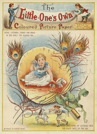 Ethel's own day. Illustration from The Little One's Own Coloured Picture Paper (Dean and Son, c1890).