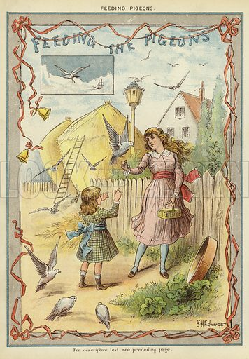 Feeding the pigeons. Illustration from The Little One's Own Coloured Picture Paper (Dean and Son, c1890).