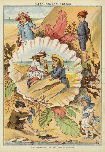 Pleasures of the beach. Illustration from The Little One's Own Coloured Picture Paper (Dean and Son, c1890).