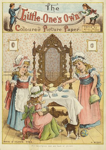 Five o'clock tea. Illustration from The Little One's Own Coloured Picture Paper (Dean and Son, c1890).