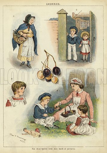 Cherries. Illustration from The Little One's Own Coloured Picture Paper (Dean and Son, c1890).