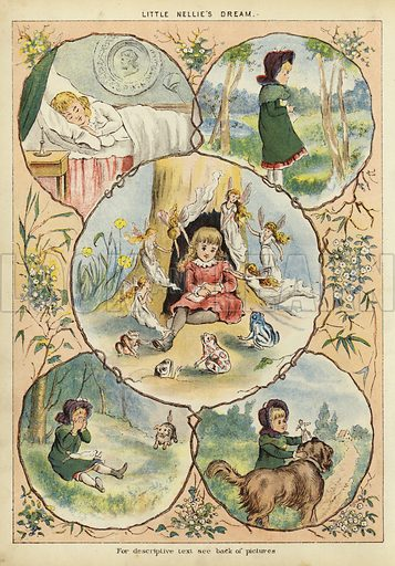 Little Nellie's Dream. Illustration from The Little One's Own Coloured Picture Paper (Dean and Son, c1890).
