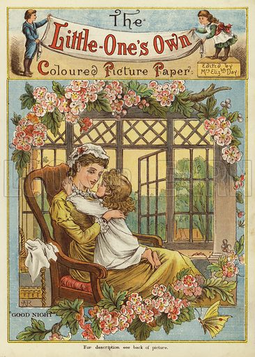 Girl kissing her mother goodnight. Illustration from The Little One's Own Coloured Picture Paper (Dean and Son, c1890).