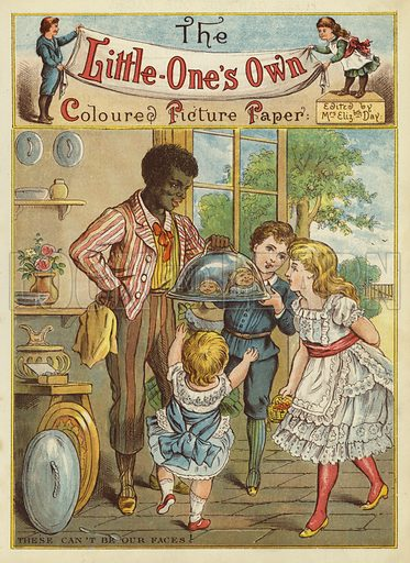Children laughing at their reflections. Illustration from The Little One's Own Coloured Picture Paper (Dean and Son, c1890).