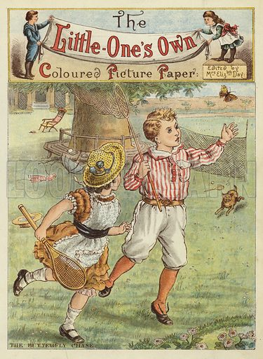 The butterfly chase. Illustration from The Little One's Own Coloured Picture Paper (Dean and Son, c1890).