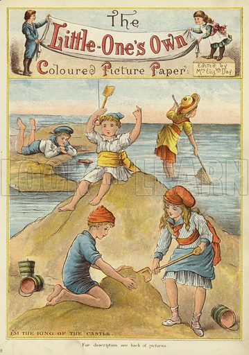 Building sand castles on the beach. Illustration from The Little One's Own Coloured Picture Paper (Dean and Son, c1890).