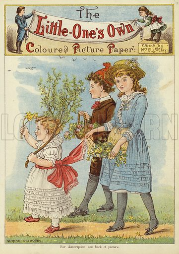 Children picking spring flowers. Illustration from The Little One's Own Coloured Picture Paper (Dean and Son, c1890).