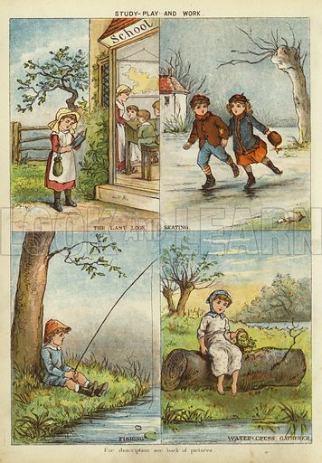 Study, play and work. Illustration from The Little One's Own Coloured Picture Paper (Dean and Son, c1890).