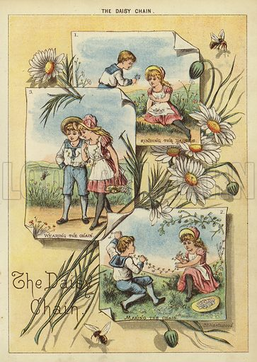 The Daisy Chain. Illustration from The Little One's Own Coloured Picture Paper (Dean and Son, c1890).